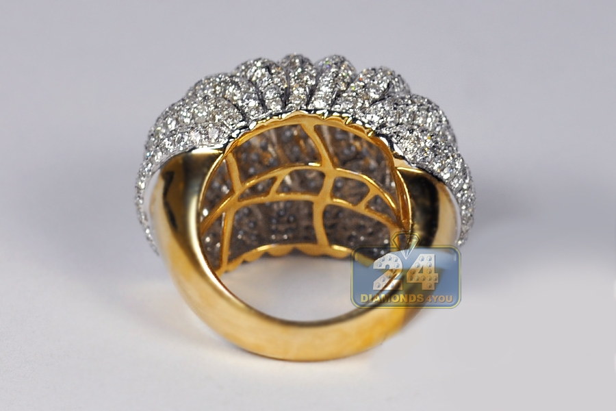 Womens Diamond Wave Dome Ring 14k Yellow Gold 6 13 Ct