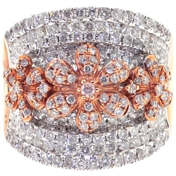 14K Rose Gold 2.17 ct Diamond Flower Womens Band Ring