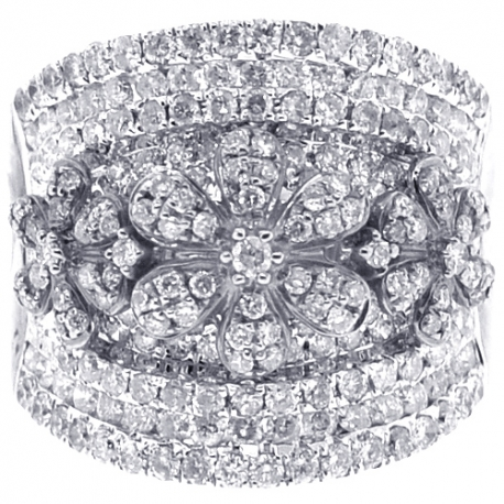 14K White Gold 2.15 ct Diamond Flower Womens Band Ring