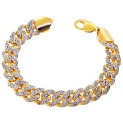 10K Yellow Gold 7.55 ct Diamond Miami Cuban Link Bracelet 13 mm