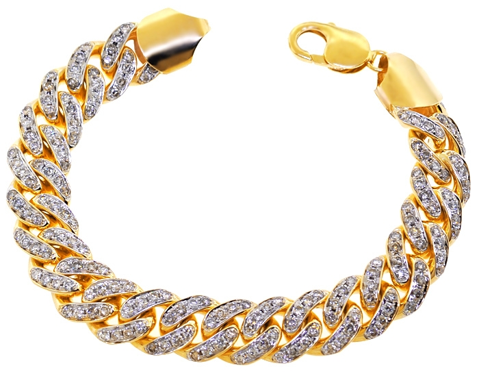 1c62f8d243d57 10K Yellow Gold 7.55 ct Diamond Miami Cuban Link Bracelet