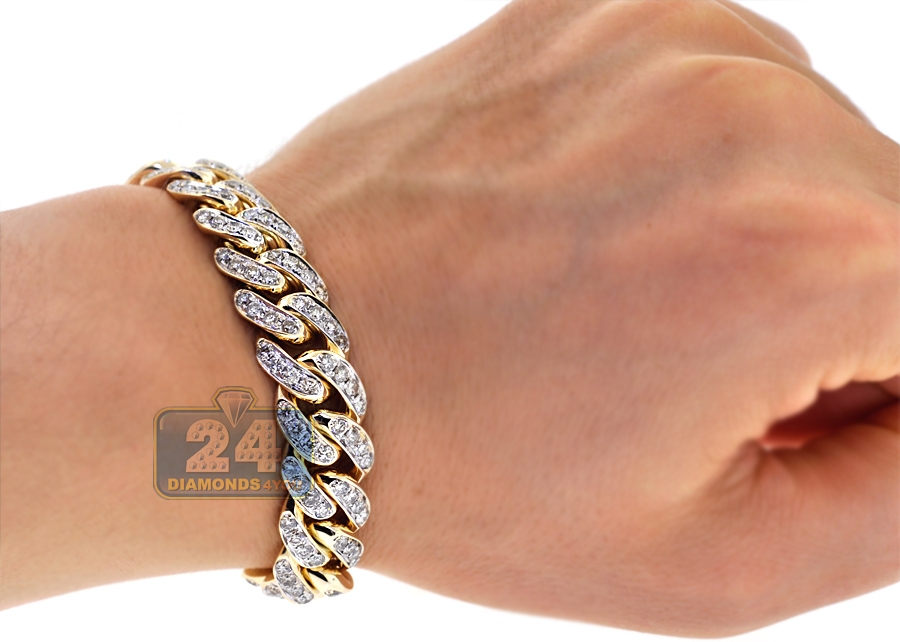Mens Diamond Miami Cuban Link Bracelet 10K Yellow Gold 8 3 ...