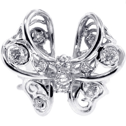 14K White Gold 0.90 ct Diamond Womens Butterfly Ring