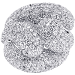 Womens Diamond Pave Double Bypass Ring 14K White Gold 5.17 ct