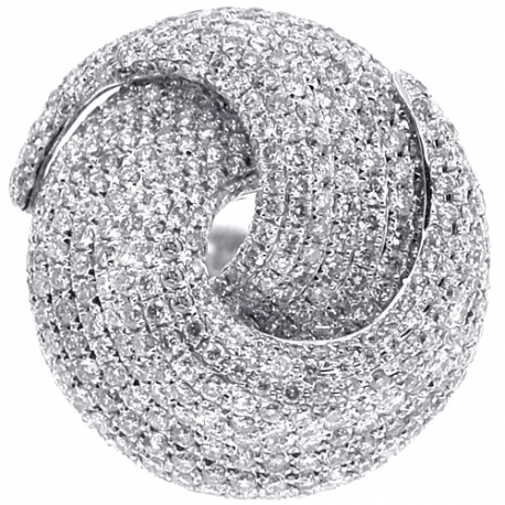 Womens Diamond Pave Round Swirl Ring 14K White Gold 4.92 ct