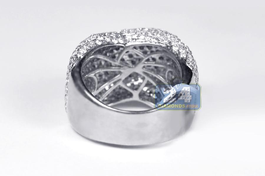 Womens Diamond Criss Cross Dome Ring 14k White Gold 4 00 Ct