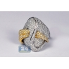 14K Two Tone Gold 3.17 ct Diamond Womens Twisted Ring
