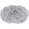 14K White Gold 3.04 ct Diamond Womens Lined Dome Ring