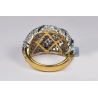 14K Yellow Gold 3.08 ct Diamond Womens Lined Dome Ring