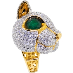 18K Yellow Gold 7.14 ct Diamond Emerald Womens Cat Ring