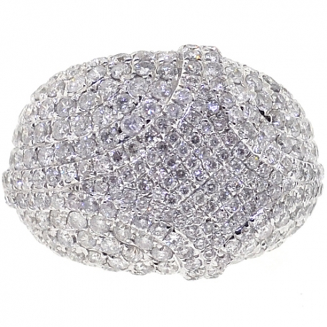 14K Yellow Gold 4.66 ct Diamond Womens Dome Ring