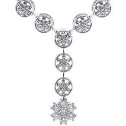 18K White Gold 1.97 ct Diamond Flower Y Shape Necklace 16 Inches