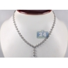 Womens Diamond Y Shape Drop Necklace 18K White Gold 1.97ct 16""