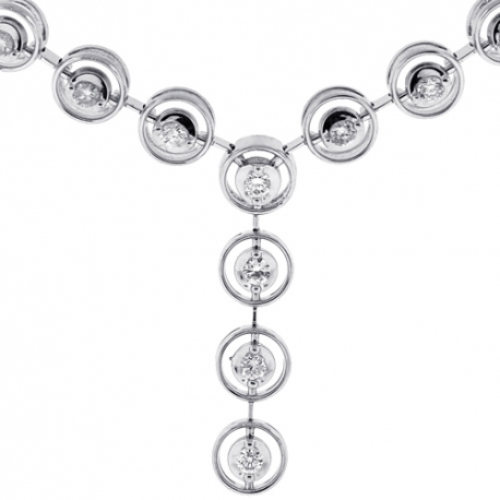 Womens Diamond Halo Y Shape Lariat Necklace 18K White Gold 1.57ct