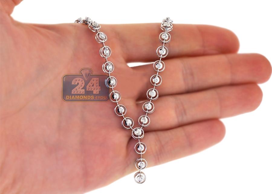 Womens Diamond Halo Y Shape Lariat Necklace 18k White Gold