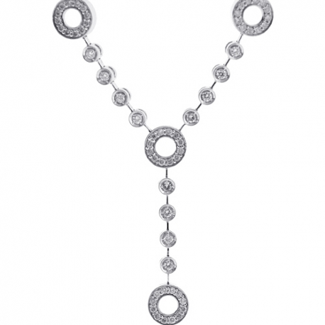 Womens Diamond Station Y Shape Necklace 14K White Gold 1.62ct 16""