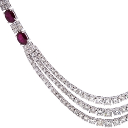 18K White Gold 15.61 ct Ruby Diamond Layered Tennis Necklace
