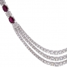 "Womens Ruby Diamond Layered Tennis Necklace 18K White Gold 16.5"""