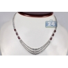 Womens Ruby Diamond Layered Tennis Necklace 18K White Gold 16.5""