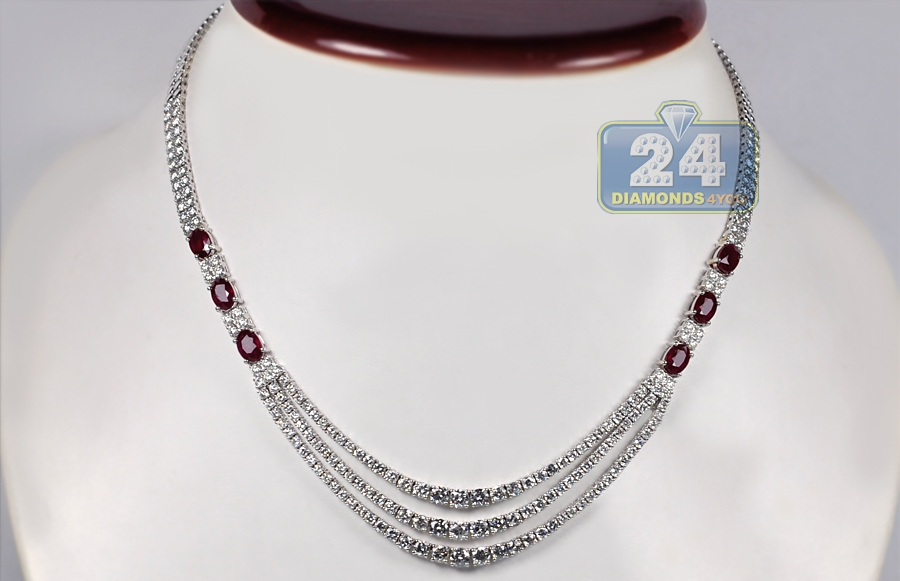 Womens Ruby Diamond Layered Tennis Necklace 18k White Gold