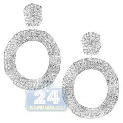 14K White Gold 8.14 ct Diamond Womens Waved Oval Earrings