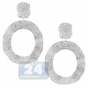 Womens Diamond Waved Oval Earrings 14K White Gold 8.14 Carat