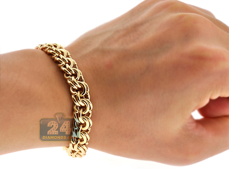 solid 14k yellow gold russian bismark mens bracelet 10mm 8 5. Black Bedroom Furniture Sets. Home Design Ideas