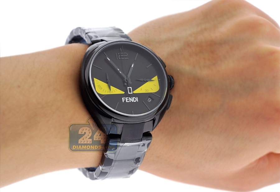 9e3c09446538 F215611600 Fendi Momento Bugs Eye Black Bracelet Mens Watch