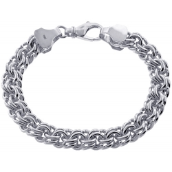 Custom 14K White Gold Russian Bismark Mens Bracelet 10 mm
