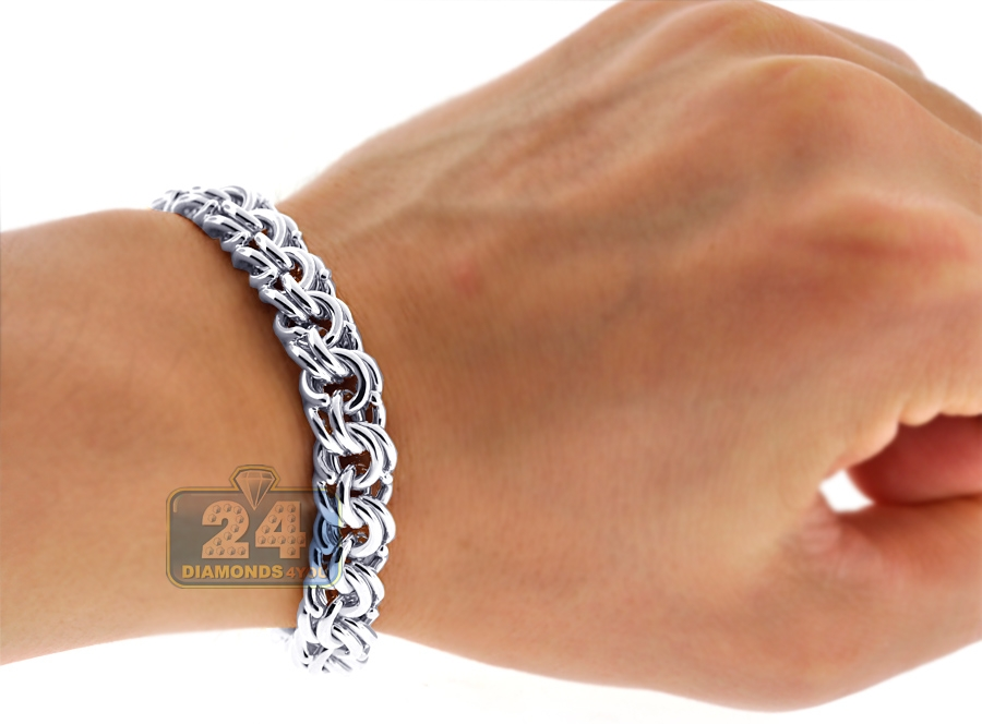 7359a72c420 ... Custom 14K White Gold Bismark Mens Bracelet 10 mm Handmade ...