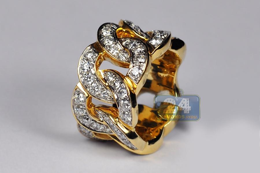 Mens Diamond Cuban Eternity Band Ring 10k Yellow Gold 5 43 Ct