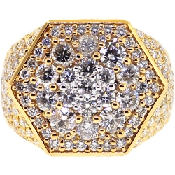 14K Yellow Gold 5.58 ct Diamond Mens Hexagon Ring