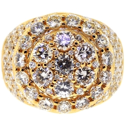 14K Yellow Gold 6.24 ct Diamond Mens Round Ring