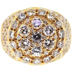14K Yellow Gold 6.24 ct Diamond Mens Round Ring