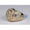 14K Yellow Gold 6.24 ct Diamond Cluster Mens Round Ring