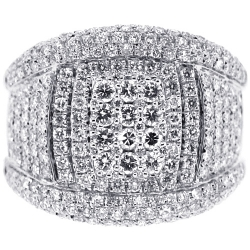 14K White Gold 2.34 ct Diamond Mens Band Ring