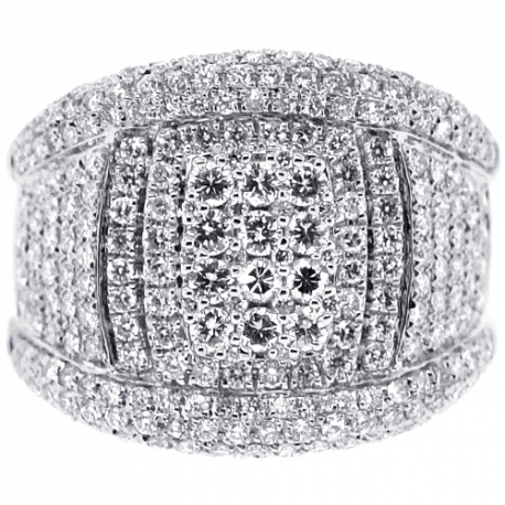 14K White Gold 2.34 ct Diamond Pave Mens Band Ring