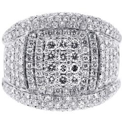 14K White Gold 2.34 ct Diamond Mens Band Ring