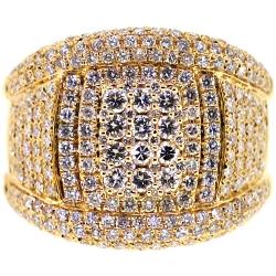 14K Yellow Gold 2.32 ct Diamond Mens Band Ring