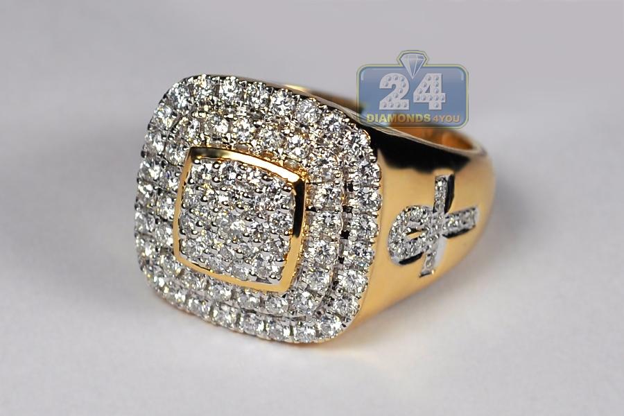 14k Yellow Gold 1 77 Ct Diamond Ankh Cross Mens Ring