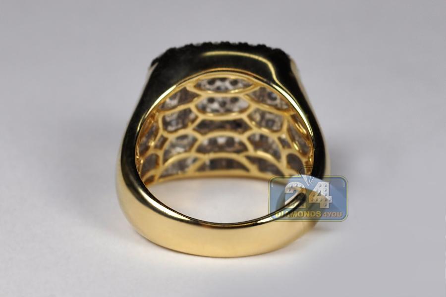 Mens Diamond Ankh Cross Pinky Ring 14k Yellow Gold 1 77 Ct