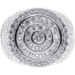 14K White Gold 3.88 ct Diamond Mens Round Pinky Ring