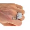 14K White Gold 3.88 ct Diamond Mens Round Pinky Ring