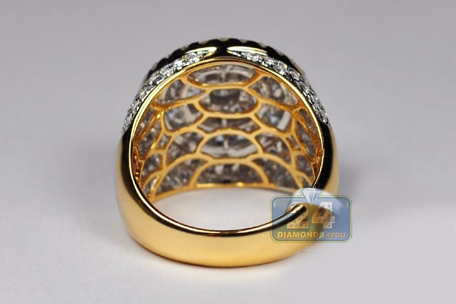 Mens Diamond Round Signet Pinky Ring 14K Yellow Gold 3 83 ct