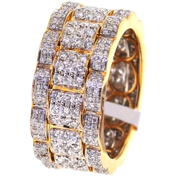 14K Yellow Gold 2.09 ct Diamond Mens Eternity Ring 11 mm