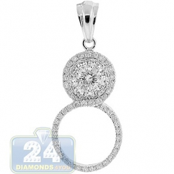 14K White Gold 1.08 ct Diamond 8-Shaped Womens Pendant