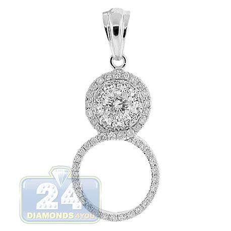 Womens Diamond 8 Shaped Drop Pendant 14K White Gold 1.08ct