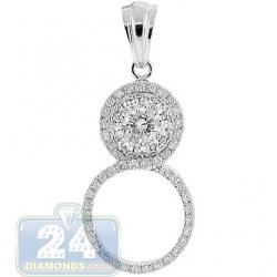 14K White Gold 1.08 ct Diamond 8-Shaped Womens Pendant