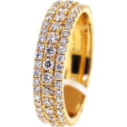 14K Yellow Gold 2.64 ct Diamond Mens Eternity Ring 6 mm