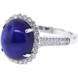 18K White Gold 8.39 ct Cabochon Blue Sapphire Diamond Ring